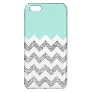 Mint and Silver Faux Glitter Chevron Case For iPhone 5C