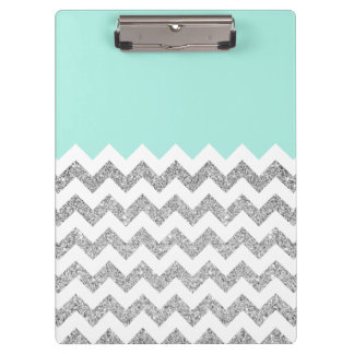 Mint and Silver Faux Glitter Chevron Clipboard