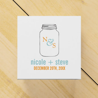 Mint and Tangerine Mason Jar Monogram Wedding Favor Boxes