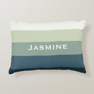 Mint and teal stripes customize name decorative pillow