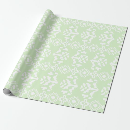 Mint and White Aztec Floral Stripes Wrapping Paper
