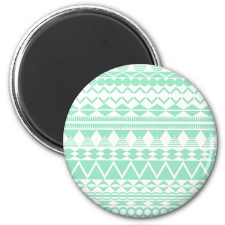 Mint and White Aztec Pattern 2 Inch Round Magnet