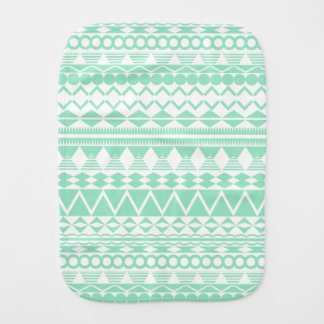 Mint and White Aztec Pattern Burp Cloth