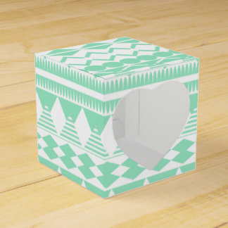 Mint and White Aztec Pattern Favor Box