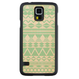 Mint and White Aztec Pattern Maple Galaxy S5 Slim Case