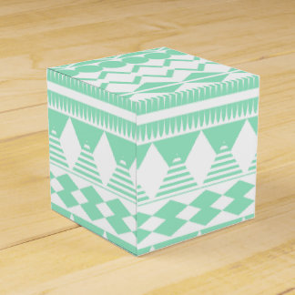 Mint and White Aztec Pattern Party Favor Box
