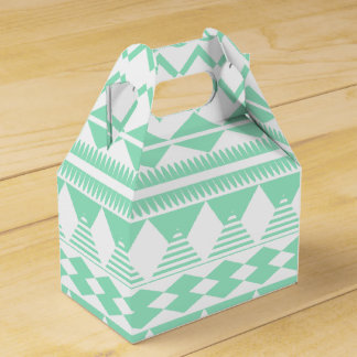 Mint and White Aztec Pattern Party Favor Boxes