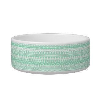 Mint and White Aztec Pattern Pet Bowl