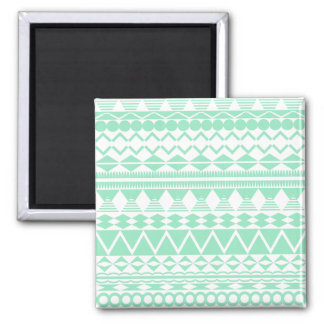 Mint and White Aztec Pattern Square Magnet