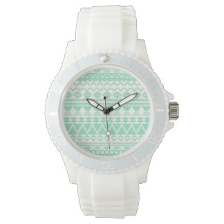Mint and White Aztec Pattern Watches
