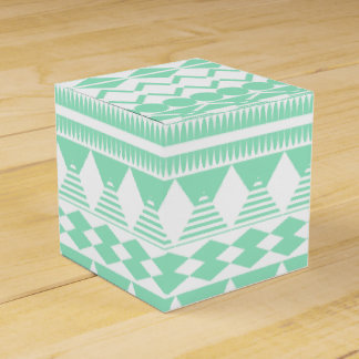 Mint and White Aztec Pattern Wedding Favor Box
