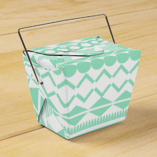 Mint and White Aztec Pattern Wedding Favor Boxes