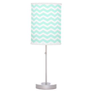 Mint and White Chevron Table Lamp