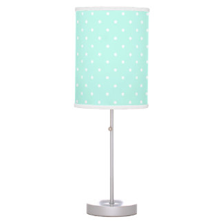 Mint and white delicate polka dot table lamp