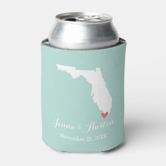 Mint and White Florida Wedding Favor Can Cooler