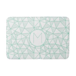 Mint and White Modern Geometric Pattern Monogram Bath Mat