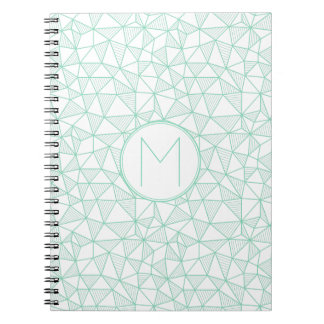 Mint and White Modern Geometric Pattern Monogram Notebooks