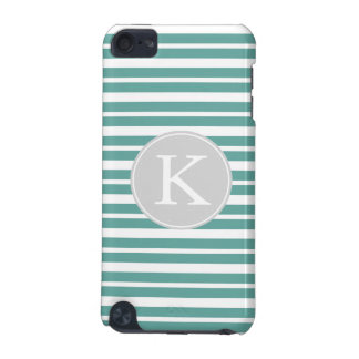 Mint and White Stripes Monogram iPod Touch 5G Covers