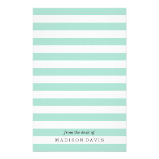 Mint and White Stripes | Personalized Stationery