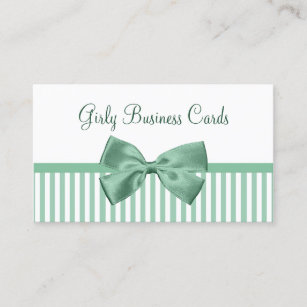 Girly bow business cards business card printing zazzle ca mint and white stripes with girly light jade bow business card colourmoves