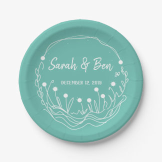 Mint and White Whimsical Wedding Plate