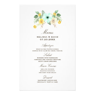 Mint and Yellow Floral Wedding Menu Flyers