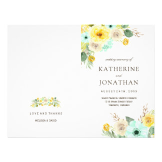 Mint and Yellow Floral Wedding Programs