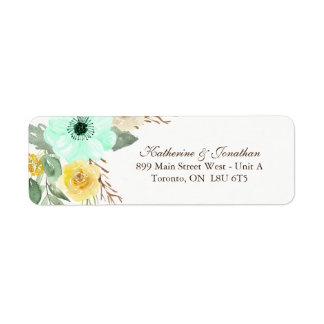 Mint and Yellow RSVP Address Labels