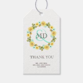 Mint and Yellow Wedding Favor Gift Hang Tag