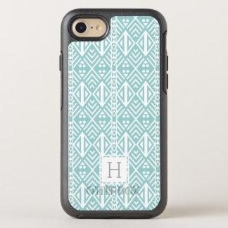 Mint Aqua Geometric Tribal Pattern Monogram OtterBox Symmetry iPhone 8/7 Case