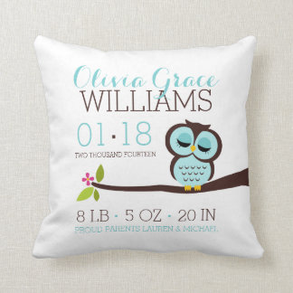 Mint Aqua Owl Baby Birth Announcement Throw Pillow