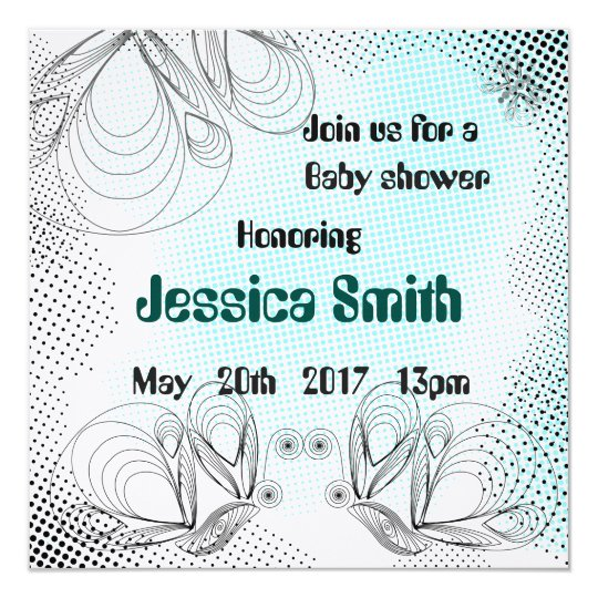 Mint baby shower invitation with halftones