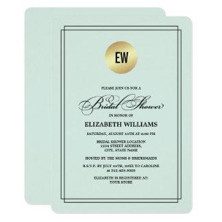 Mint | Black Elegant Bridal Shower Invitations