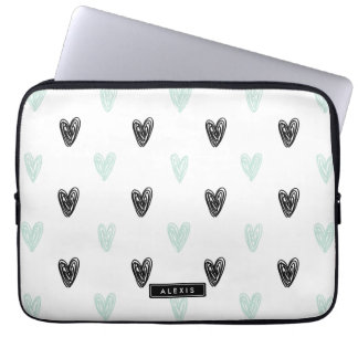 Mint & Black Hearts Doodles Pattern Personalized Laptop Computer Sleeve