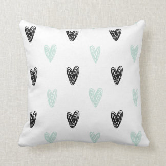 Mint & Black Hearts Doodles Pattern Personalized Throw Pillow