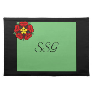 Mint & Black with A Red Flower Custom Monogram Placemats
