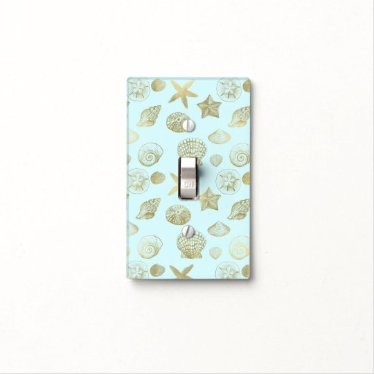 Mint Blue Gold Sea Shells Light Switch Cover