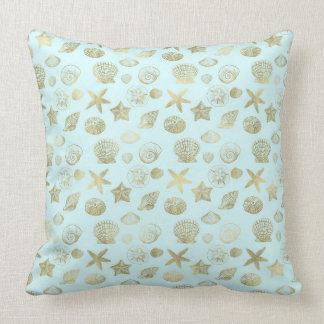 Mint Blue Gold Sea Shells Throw Pillow