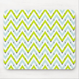 Mint Blue & Green Chevron Geometric Pattern Mouse Pad
