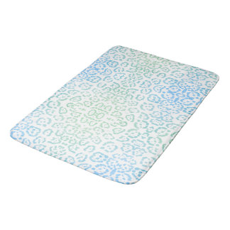 Mint Blue Leopard Pastel Kawaii Animal Print Green Bath Mat