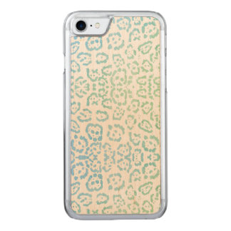 Mint Blue Leopard Pastel Kawaii Animal Print Green Carved iPhone 8/7 Case