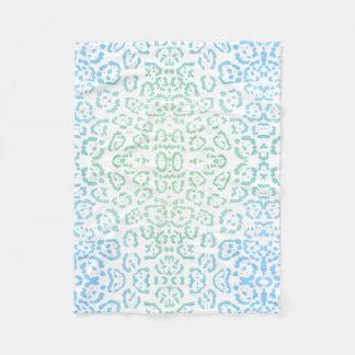 Mint Blue Leopard Pastel Kawaii Animal Print Green Fleece Blanket
