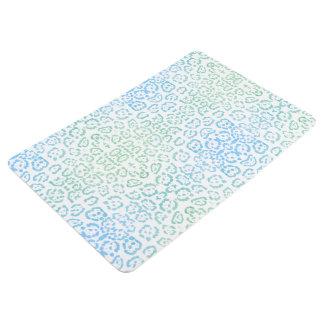 Mint Blue Leopard Pastel Kawaii Animal Print Green Floor Mat