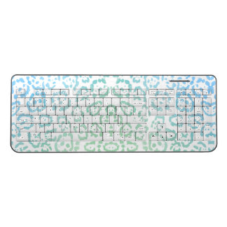 Mint Blue Leopard Pastel Kawaii Animal Print Green Wireless Keyboard
