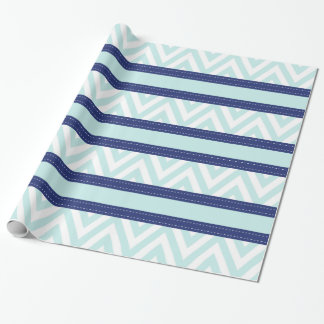Mint Blue & Navy Stripes Chevron Pattern Wrapping Paper