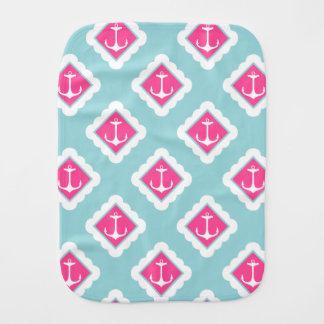 Mint Blue, Pink, White Anchors Nautical Pattern Burp Cloths