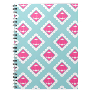 Mint Blue, Pink, White Anchors Nautical Pattern Notebook