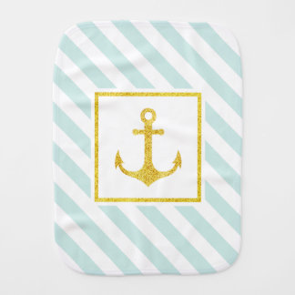 Mint Blue Stripes Faux Glitter Golden Anchor Burp Cloth