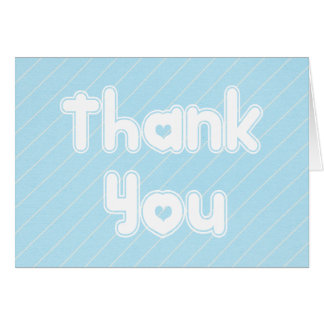 Mint Blue Thank You Turquoise & White Stripes Card