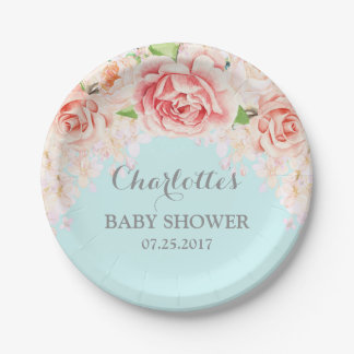 Mint Blue Watercolor Floral Baby Shower Plate
